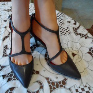 Charles Jourdan Gray Leather T Strap Pumps 7.5M